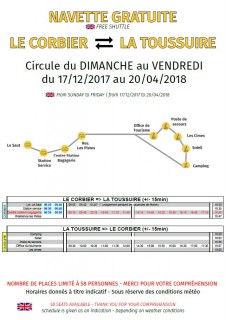 Schedule shuttle between Le Corbier - La Toussuire